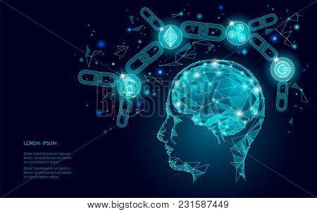 Ethereum Bitcoin Ripple Coin Digital Cryptocurrency Human Brain Artifitial Intellegence. Big Data In