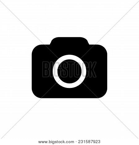 Camera Icon In Flat Style Isolated On White Background. Simple Abstract Camera Symbol In Black. Vect