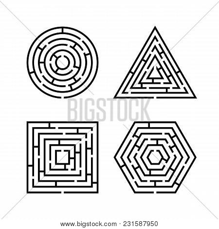 Set Of Labyrinth Different Shapes For Game. Maze Square, Round, Hexagon And Triangle Puzzle Riddle L