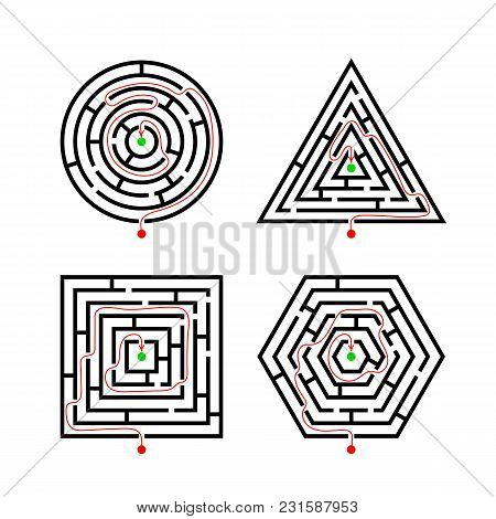 Set Of Labyrinth Different Shapes For Game With With The Marker Correct Route. Maze Square, Round, H