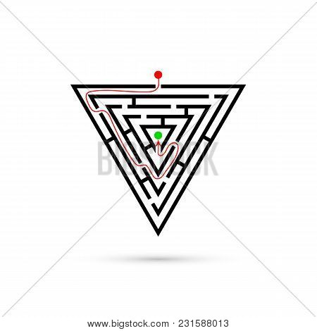 Triangle Maze With Way To Center. Business Confusion And Solution Concept. Flat Design. Vector Illus