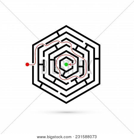 Hexagon Maze With Way To Center. Problem, Business Confusion And Solution Concept. Flat Design. Vect