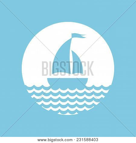 Flat Blue Silhouette Of Boat With Two Sails On The Water. Isolated On White In Circle. Powder Blue B