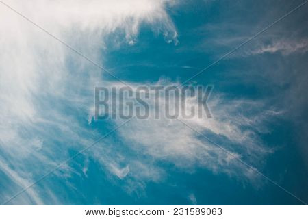 Puffy Clouds Blue Wide Soft Dreamy Sky Peace Background And Relax Feeling