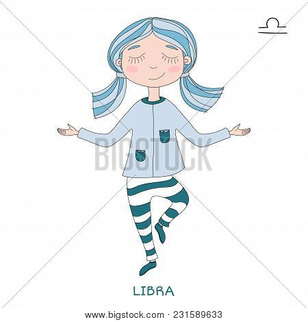 Funny Horoscope For Girls. Cute Girl In The Form Of Zodiac Sign. Outline Drawing In Cartoon Style. L