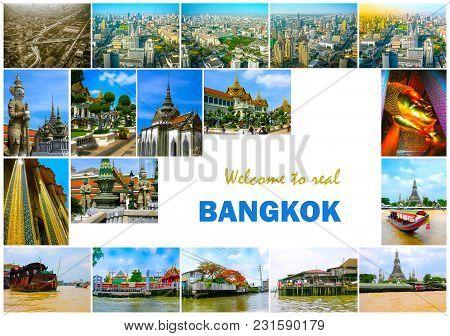 Collage Of Landmarks Of Bangkok, Thailand. Temples Of Bangkok. The Arial Panorama Of Bangkok City. C