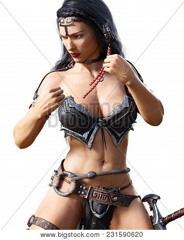 Warrior Amazon Woman With Sword. Long Dark Hair. Muscular Athletic Body. Girl Standing Candid Provoc