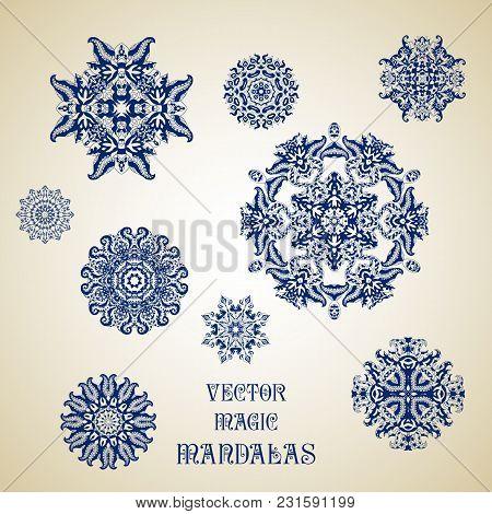 Set Of Ethnic Ornamental Floral Pattern. Henna Mehndi Design Elements. Vector Magic Mandalas. Orient
