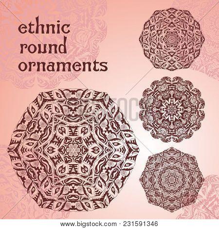 Ethnic Round Ornaments. Hand Drawn Mandalas. Henna Mehndi Design Element. Orient Traditional Backgro