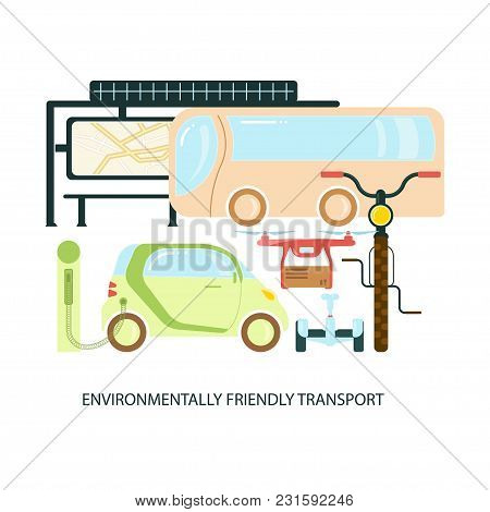 Modern Eco Technologies In The City. Environmentally Friendly Transport. Icons In Flat Design. Vecto
