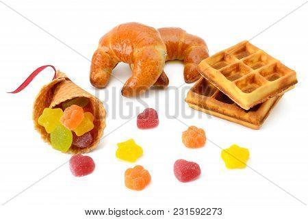 Croissants, Waffles And Marmalade Isolated On White Background