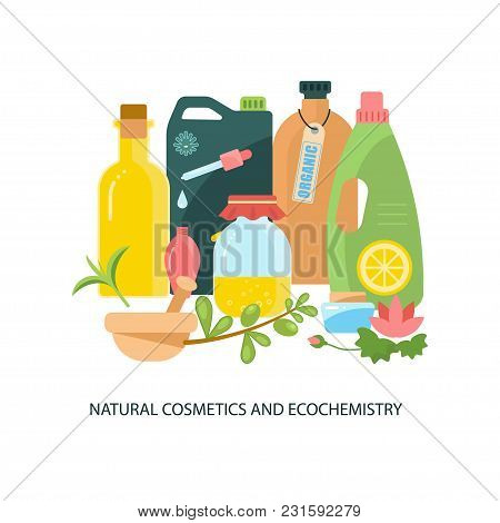 Modern Eco Technologies In The City. Natural Cosmetics And Ecochemistry. Icons In Flat Design. Vecto