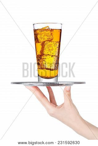 Hand  Holds Tray With Energy Drink Glass Soda Drink With Ice On White Background