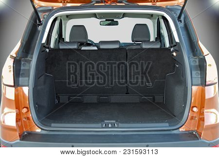 Empty Trunk Of The Small Orange Suv
