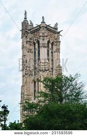 The Upper Part Of The Tower Of Saint-jacques In The Late Gothic Style In Paris On The Square Of The