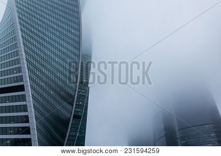 Moscow, Russia - December 29, 2017 Foggy Weather In Moscow, Capital City Of Russia.side View Of The