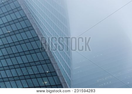 Moscow, Russia - December 29, 2017 Foggy Weather In Moscow, Capital City Of Russia.abstract Architec