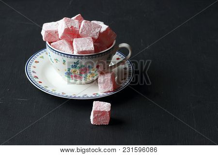 Turkish Delight With Rose Flavoured, Lokum On A Black Background