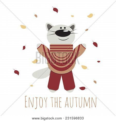 Funny Cat In Sweater With Red And Yellow Stripes Playing With Leafs. Card Enjoy The Autumn