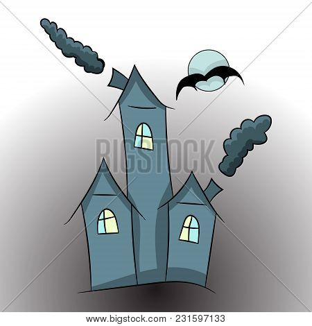 Witch Castle. A Cartoon Picture Of Halloween. Vector Illustration. Hand Drawing.