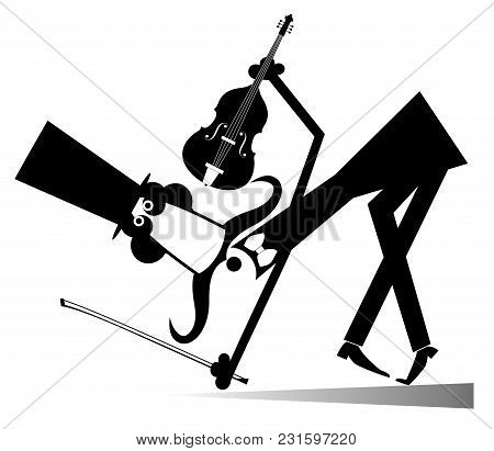 Cartoon Long Mustache Cellist Illustration Isolated. Smiling Mustache Cellist In The Top Hat Bows Lo