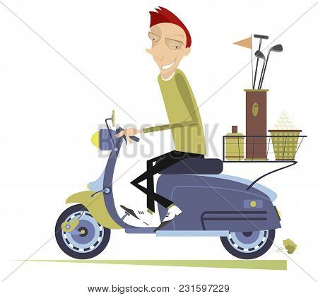 Smiling Man Rides The Scooter And Goes To Play Golf Isolated Illustration. Smiling Man On The Scoote