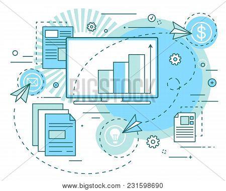 Concept Of Business Ideas, Revenue Growth Analytics, Presentation. Profit Analysis, Securities, Inve