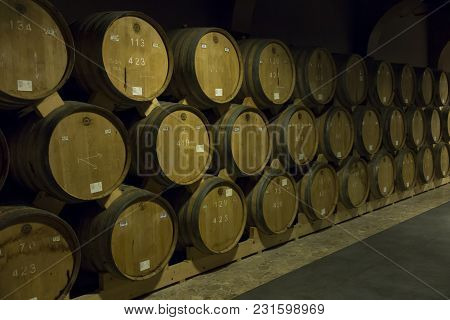 Yerevan, Armenia, 21 September 2017: Wooden Barrels Of Aged Wine At The Brandy Factory Of Noy (arara