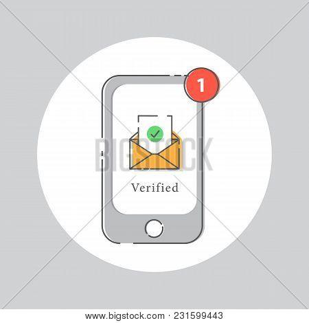 Email Address Verified, Register Success, E-mail Concept.