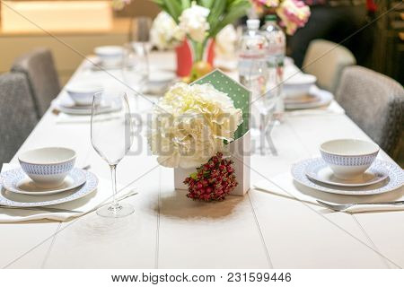Served Table For Tea Drinking. The Concept Of Home Comfort.