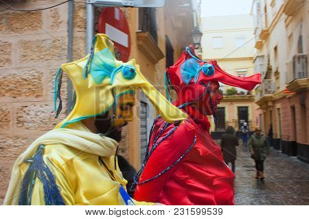 Carnival In Spain In Cloudy Weather.spain, Cadiz, February 2018