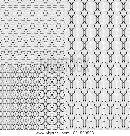 Set Of Textures Of Metal Grids And Grates On A White Background. Five Elements Of Decoration Of Wall