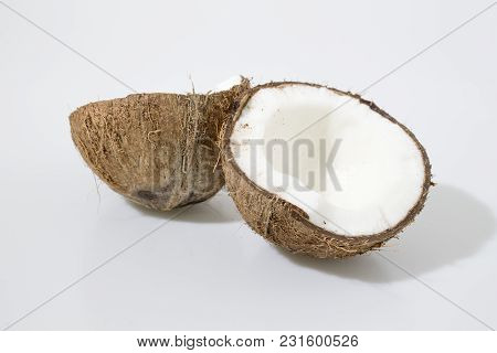 Fresh Coconut Fruit In A White Background Composition