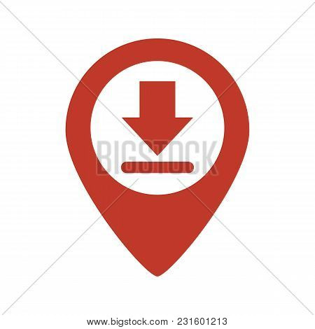 Map Pointer With Download Gps On White Background. Vector Illustration