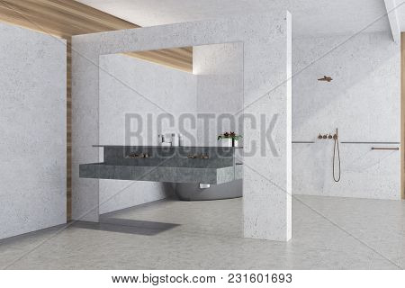 White Panoramic Bathroom Interior Idea. White Concrete Walls And A Tiled Floor, Large Window And A D