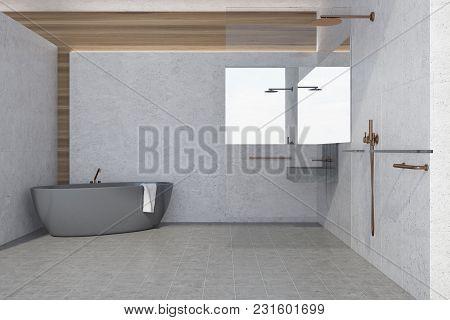 Light Gray Panoramic Bathroom Interior Idea. A Tiled Floor, A Gray Bathtub And A Sink. A Shower Stal