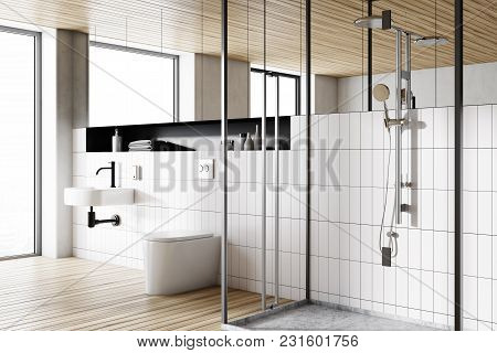 Corner Of A Modern Bathroom With White Tiled Walls, A Round Sink, A Shower Stall And A Toilet. 3d Re