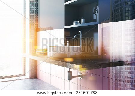 Round Sink In A Pink Tiled And Black Bathroom Interior With Wide Toiletry Shelves Behind It. A Side