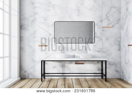 White Marble Panoramic Bathroom Interior Idea. A Large Window And A Double Sink With A Rectangular M