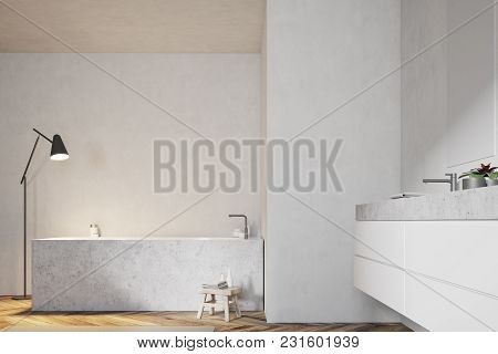 Angular Bathtub And A Double Sink In A Modern Bathroom With A Wooden Floor And White Walls. 3d Rende