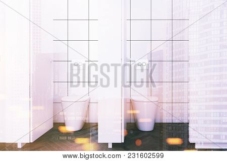 Stalls Of A Public Restroom With White And White Tiled Walls And A Wooden Floor. 3d Rendering Mock U
