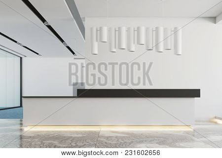 White Office Interior With A Marble And Blue Carpet Floor, A White And Black Reception And An Origin