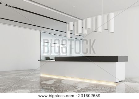 White Office Interior With A Marble Floor, A White And Black Reception And An Original Ceiling Lamp.