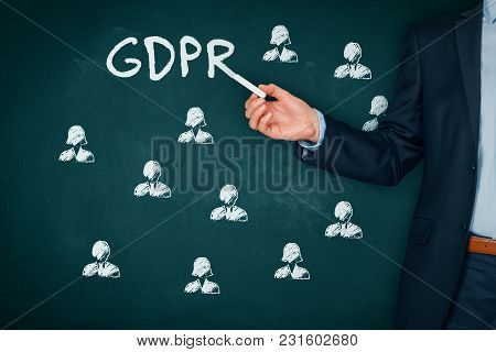 Gdpr (general Data Protection Regulation) Concept. Teacher Or Businessman Explain Gdpr And Icons Of