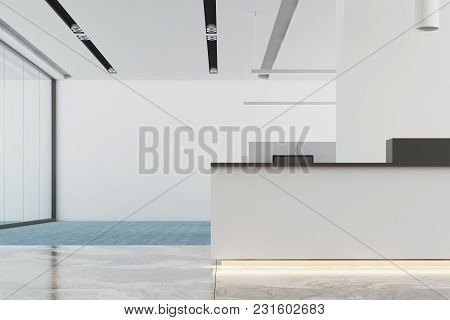 White Office Interior With A Marble And Blue Carpet Floor, A White Reception Desk. 3d Rendering Mock