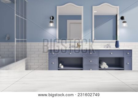 Blue And White Brick Bathroom Interior Idea. A Tiled Wooden Floor, A Double Sink With Original Mirro