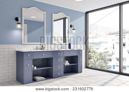Blue And White Brick Panoramic Bathroom Interior Idea. A Tiled Wooden Floor, A Double Sink With Orig