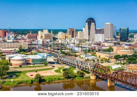 Shreveport, Louisiana, USA downtown skyline over the river.