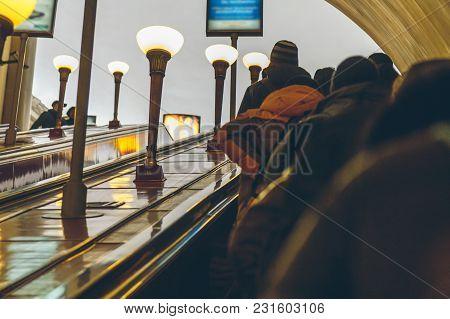 People In Subway In St. Petersburg In Russia