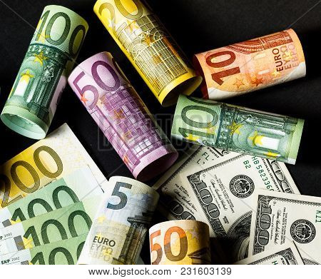 Background Of The Money. Euro And Dollar.